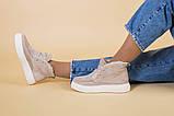 Ботинки женские замшевые бежевые на шнурках, зимние, фото 4