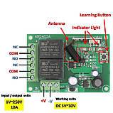 Бездротовий модуль дистанційного керування DC 24V 433 мГц 2 реле 2 пульта, фото 3