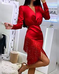 Шелковое красное платье с бахромой