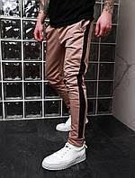 Бежевые мужские спортивные штаны с лампасами Асос