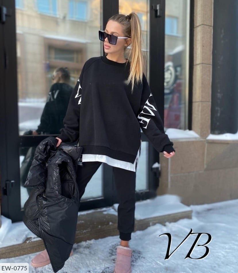Женский спортивный черный костюм с накаткой