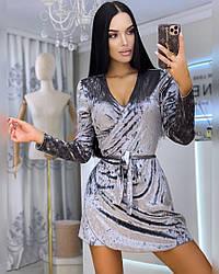 Женское велюровое платье на запах