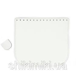 Клапан для сумки из натуральной кожи (20*18), цвет белый