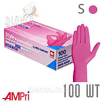 Перчатки Ampri нитриловые (100 шт), Grenadine/Темно-розовый. S