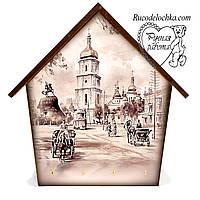 Ключница  домик Старый город Киев средняя 18 * 23 см, ручная работа, Подарок на годовщину свадьбы