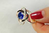 Шикарное серебряное кольцо с синим камнем