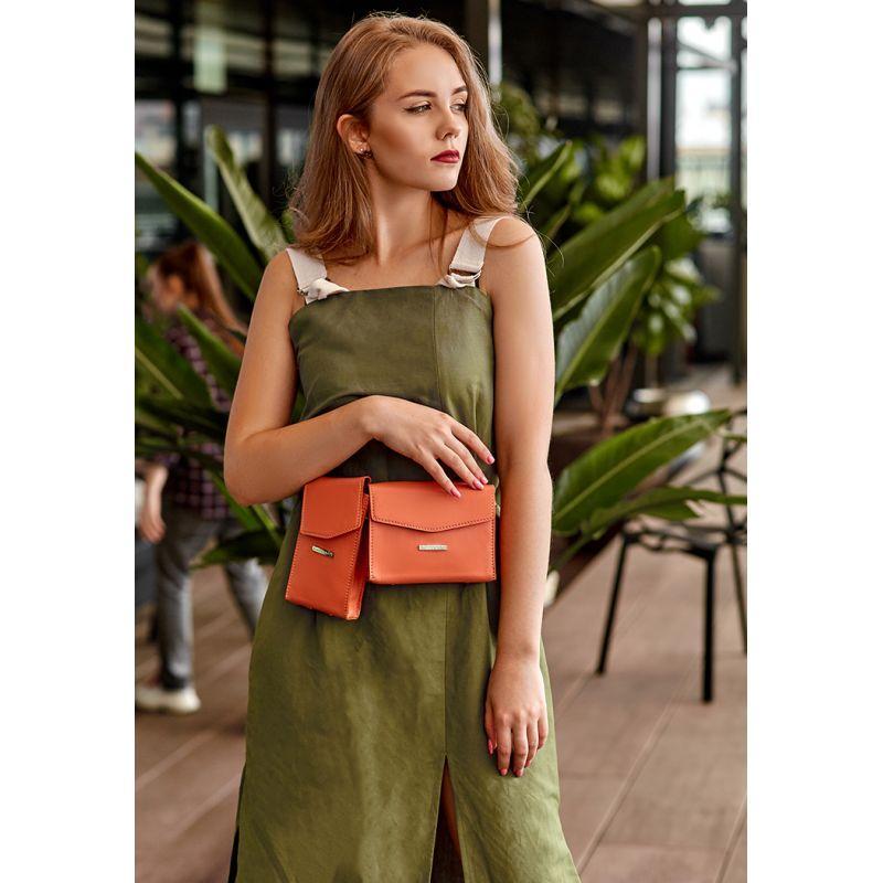 Набор женских коралловых кожаных сумок Mini поясная/кроссбоди