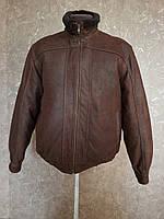 Кожаная куртка из толстой кожи с кожаной резинкой