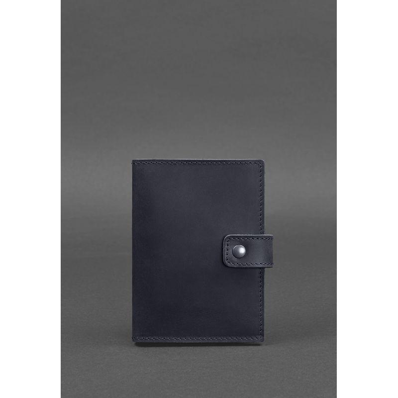 Кожаная обложка для паспорта 5.0 (с окошком) темно-синяя Crazy Horse