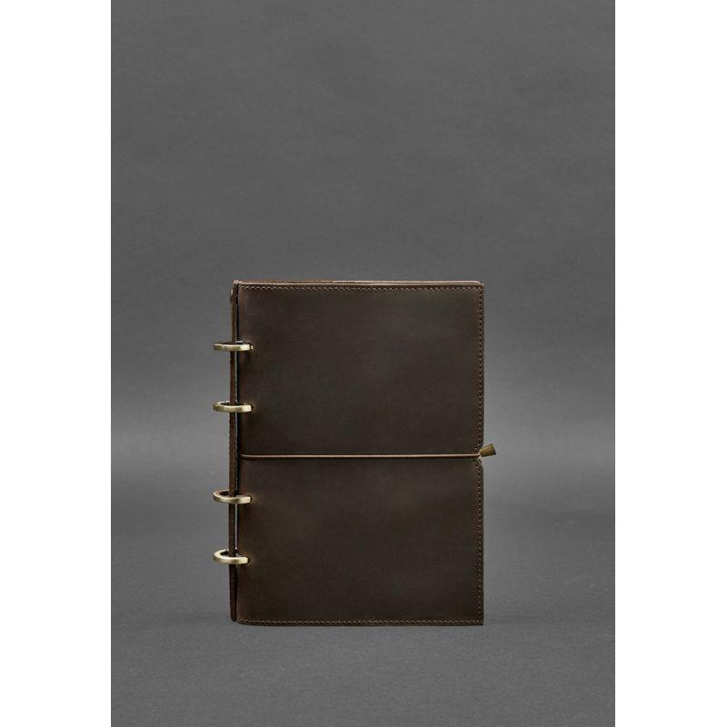 Кожаный блокнот на кольцах (софт-бук) 9.0 в мягкой коричневой обложке