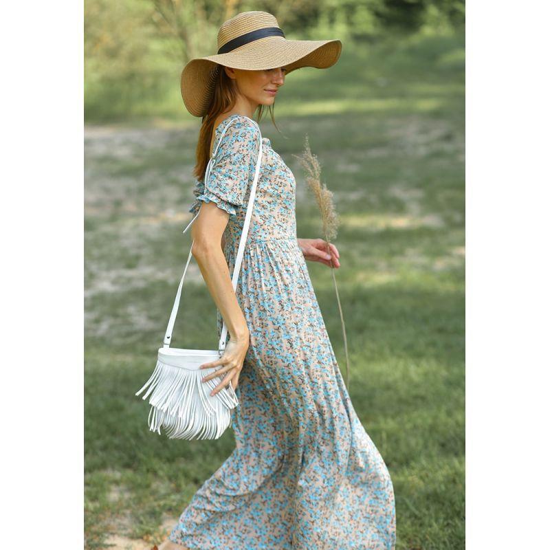Кожаная женская сумка с бахромой мини-кроссбоди Fleco белая