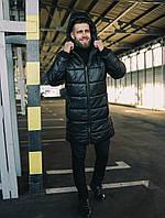 Мужской пуховик с капюшоном черный, фото 1