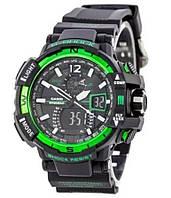 Наручные мужские кварцевые часы G-SHOCK-1 черно-зеленые, 20 ATM, подсветка, наручные часы G-SHOCK-2, мужские