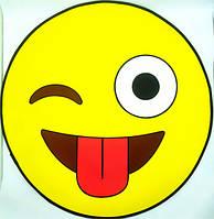 Дитячий безворсовий 3D килимок Смайлик розмір 80x80 см, жовтий, поліпропілен, круглий, безворсовий килим