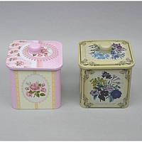 """Банка для хранения сыпучих продуктов """"Flower"""" CF3159, размер 13x12x13 см, металл, 4 вида, емкость для хранения"""