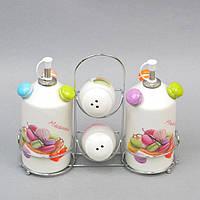 """Набор для хранения специй """"Macarons"""" ZL715, с подставкой, в комплекте емкости для масла, керамика, комплект"""