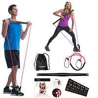 Портативный тренажер для занятий фитнесом BodyGym черный, сумка, складная гимнастическая палка BodyGym,