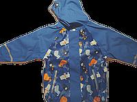 Детский Дождевик полеуретан без утеплителя, Куртка, синяя с собаками Грязепруф, Lupilu 110-116
