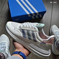 Мужские кроссовки Adidas Originals ZX500 RM бело розовые / кросівки адідас (Топ реплика ААА+)