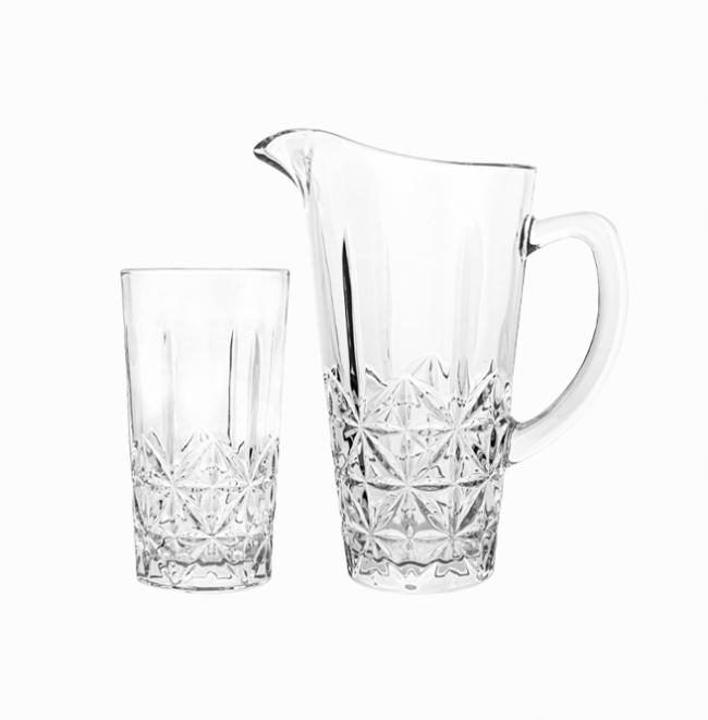 Скляний глечик із склянками Кембридж з 7 предметів