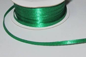 Лента атлас 0,3 см, зеленая
