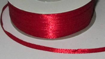 Лента атлас 0,3 см, красная