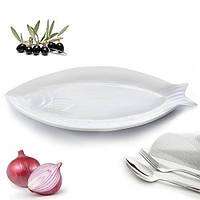 """(Цена за 6шт) Блюдо из фарфора для сервировки стола """"Рыбка"""" белое, 41х18.5см, блюдо из фарфора, блюдо плоское"""