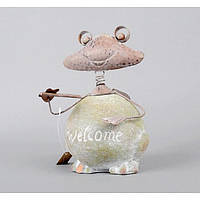 """Декор """"Лягушка"""" большая JK404, материал - металл, керамика, размер -22*13 см, декор для дома, декорирование"""