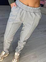Штани султанки жіночі вільні теплі штани з вовни із завищеною талією в клітку Bl153