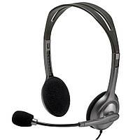 Наушники с микрофоном проводные Logitech H111 (981-000593) 3.5(4) каб.1.8м т. серый новые