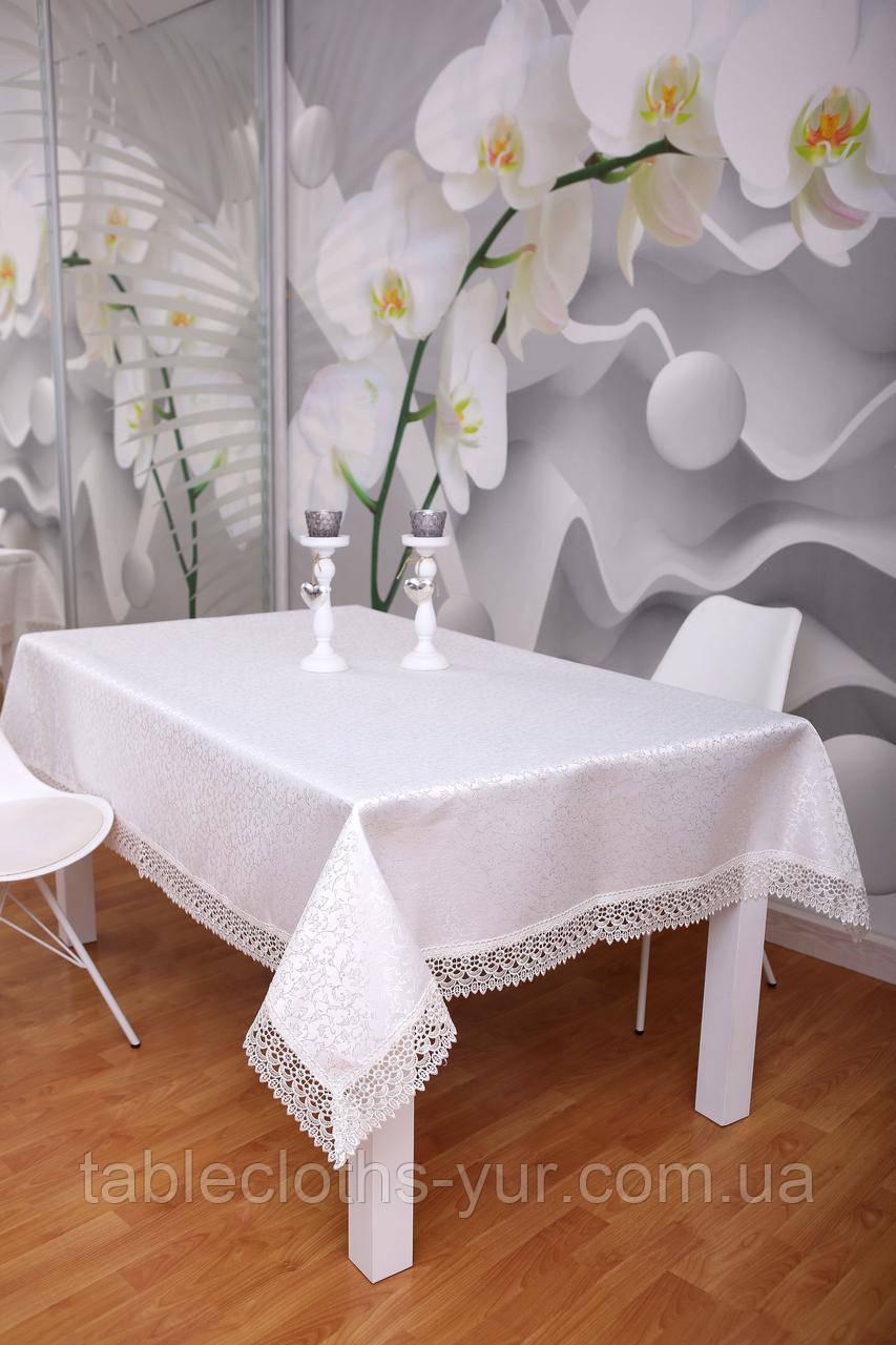 Скатертина Святкова з Мереживом 110-150 3D «Glamor» Прямокутна з дрібним візерунком Молочна №5