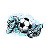 Термоаппликация Футбол, серо-голубая 6,2*9,5 см