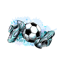 Термоаппликация Футбол, серо-голубая 6,2*9,5 см, фото 1