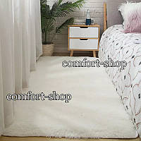 Приліжковий килимок травичка з довгим ворсом 90х200 см Молочний