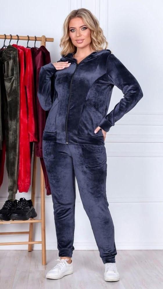 Велюровый костюм с капюшоном BLV 0706 52 синий