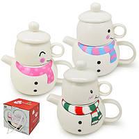 Заварник с чашкой Сниговик в наборе 2 предмета, разные цвета, 400мл, 150мл, чашка-заварник,заварник