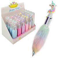 """Ручка кулька 6кол з хутром """"Unicorn"""""""