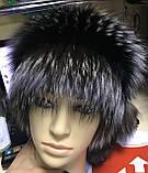 Жіноча шапка барбара з смужкою з хутра чорнобурки, фото 6