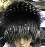 Жіноча шапка барбара з смужкою з хутра чорнобурки, фото 8