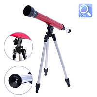 Игрушечный детский телескоп настольный со штативом астрономический 3 степень увеличения Игровая оптика Красный