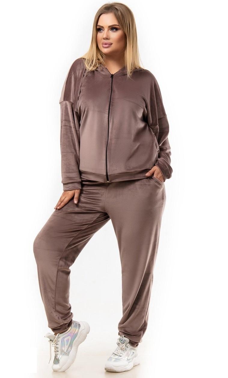 Велюровый костюм с капюшоном BLV 0702 56-58 кофе