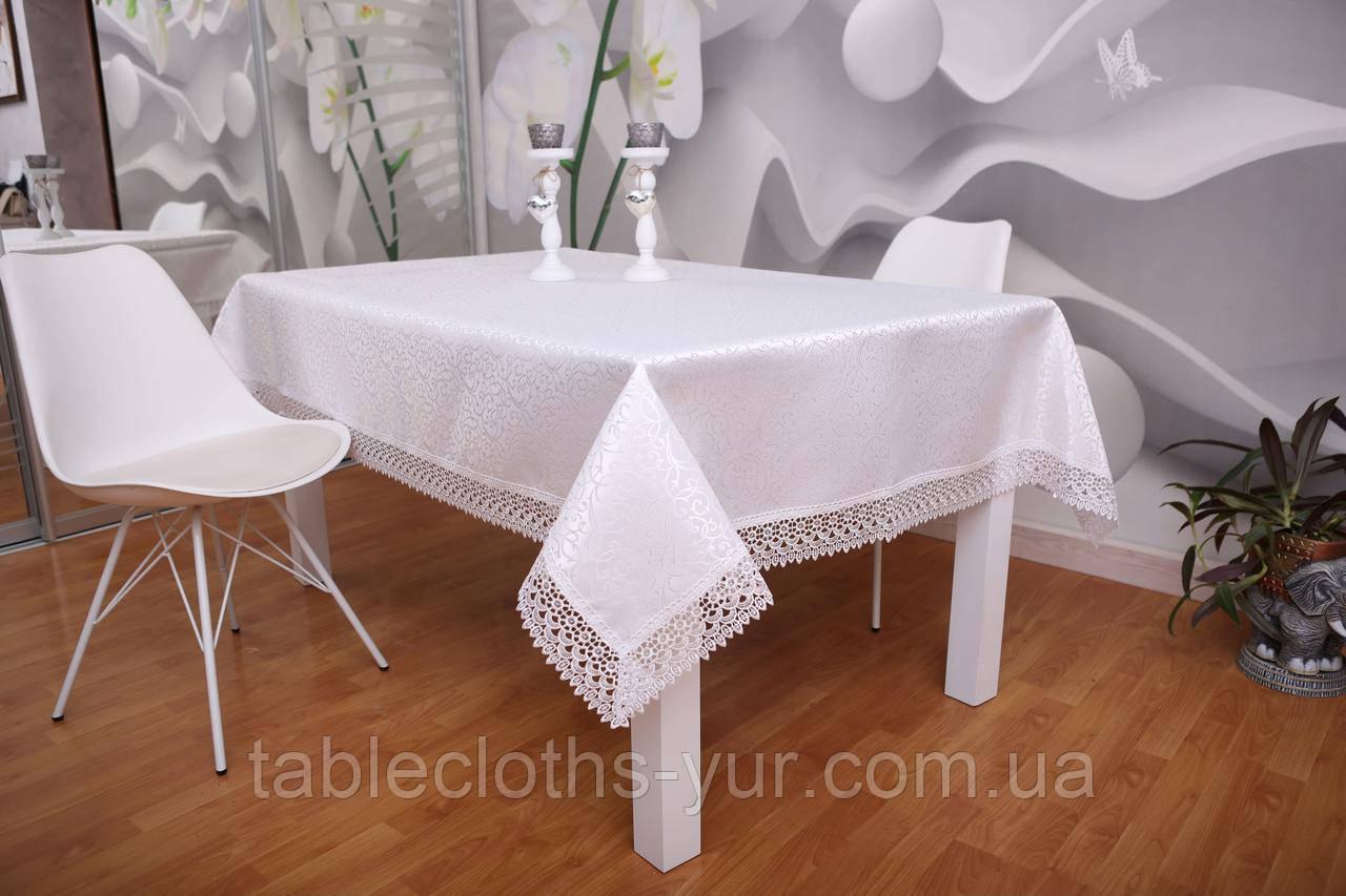 Скатертина Святкова з Мереживом 110-150 3D «Glamor» Прямокутна з великим візерунком Біла №6