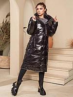 Зимнее тёплое стильное женское пальто-одеяло чёрный цвета 44 по 50р.