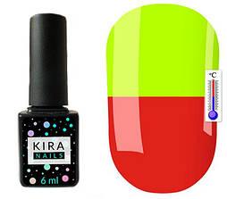 Гель-лак Kira Nails Termo T07 (цегляно-червоний, при нагріванні кислотно-жовтий), 6 мл
