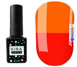 Гель-лак Kira Nails Termo T08 (приглушений червоний, при нагріванні кислотно-помаранчевий), 6 мл