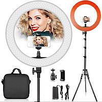 Профессиональная 45см кольцевая светодиодная лампа (селфи кольцо) RL-18 + штатив + пульт+ сумка для лампы.