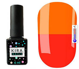 Гель-лак Kira Nails Termo T10 (червоно-кораловий, при нагріванні яскравий помаранчевий), 6 мл