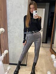 Женские стильные брюки из эко кожи,серого цвета