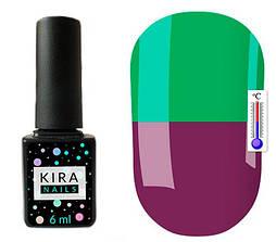 Гель-лак Kira Nails Termo T18 (приглушений баклажановий, при нагріванні яскравий зелений), 6 мл