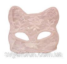 Маска карнавальна Кішка, гіпюр, біла